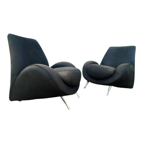 American Leather Distressed Modern Lounge Chairs - A Pair - Image 1 of 6