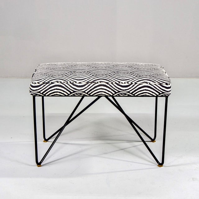 Italian Mid Century Style Bench With Black Iron Hairpin Legs For Sale In Detroit - Image 6 of 11