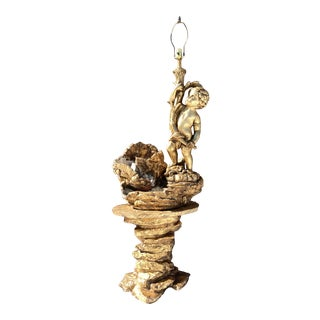 Large Figural Gilded Plaster Cherub Putti Table Lamp Atop Faux Stone Waterfall For Sale