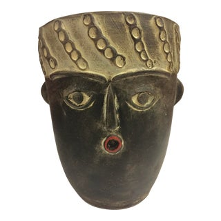 Modern Medium Spanish Picassoesque Face Pot Planter For Sale
