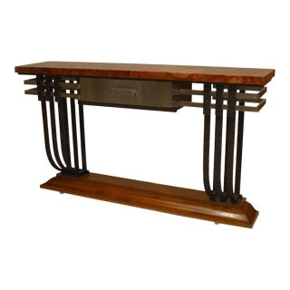 French Art Deco Iron & Steel Trimmed Console Table