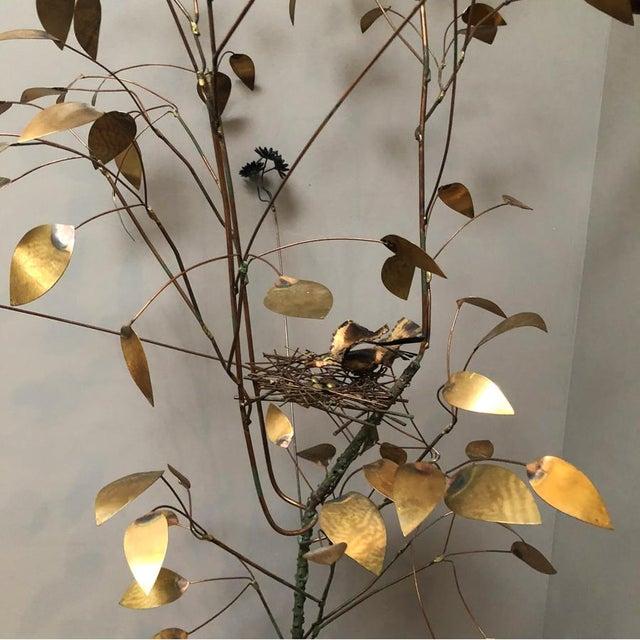 Brutalist Curtis Jere Brass Tree Birds Nest Floor Sculpture For Sale - Image 3 of 12