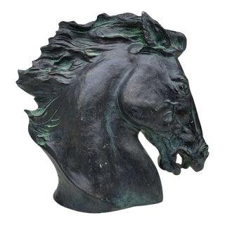 Vintage Art Deco Bronzed Plaster Horse Head Sculpture by James Spratt For Sale