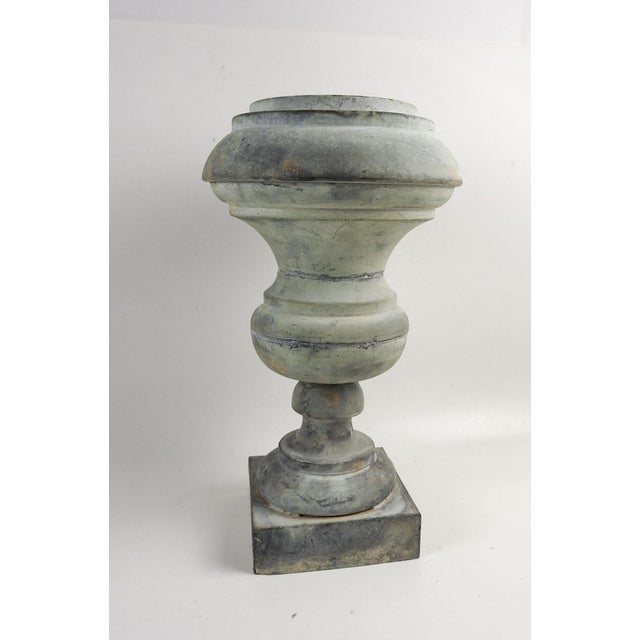 Antique zink urn shape baluster or pedestal . Great patina, hole which runs all the way thru, you could make a lamp or use...