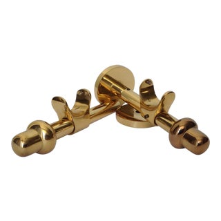 German Polished Brass Drapery Hardware Brackets - A Pair For Sale