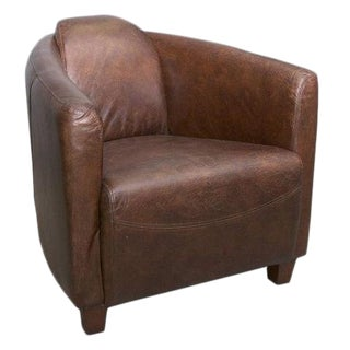2010's Modern Leather Tub Brown Chair