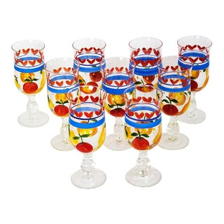 Vintage Hand Painted Footed Glasses Fruit Motif - Set of 9 For Sale