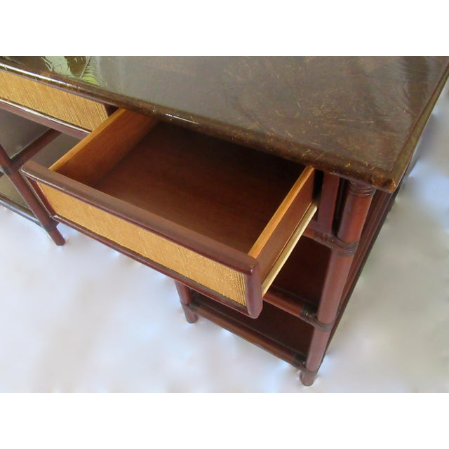 Animal Skin 1970s British Colonial-Style Rattan Tobacco Leaf Top Writing Desk For Sale - Image 7 of 13