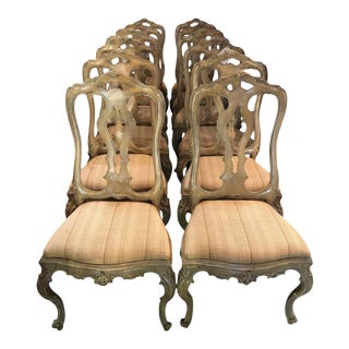 Set of Six Paint Decorated Italian Rococo Dining Room Chairs For Sale