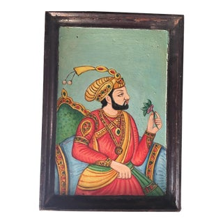 Antique Wood Tray W/ Maharaja For Sale