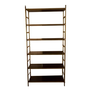 Etagere With Rosewood Veneer Shelves and Antique Brass Finish For Sale