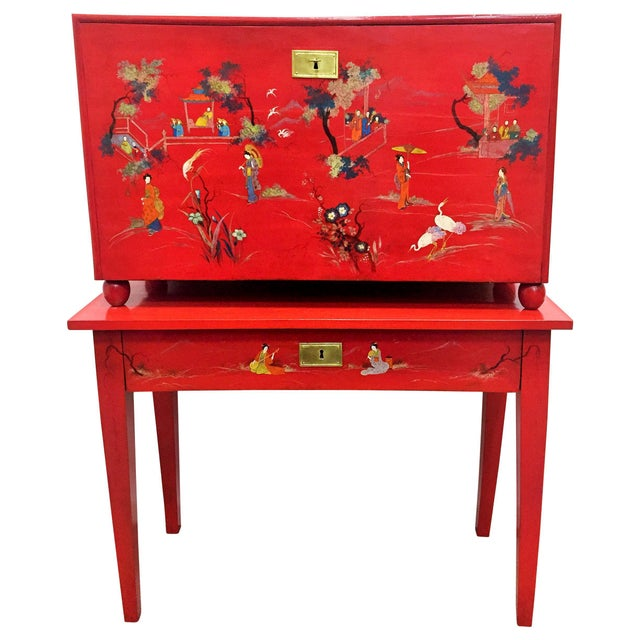 Mid 20th Century Japanese Style Red Lacquer Fall-Front Chest, 20th Century For Sale - Image 5 of 5