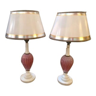 Vintage Italian Pink Murano Glass Table Lamps - a Pair For Sale