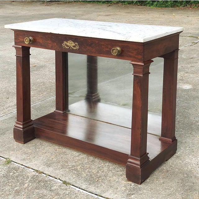 Belle Epoque 19th Century French 2nd Empire Period Marble Top Console For Sale - Image 3 of 11