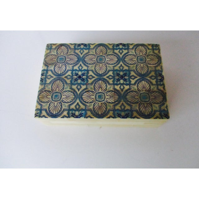 Blue & White Inlaid Bone Jewelry Box - Image 7 of 8