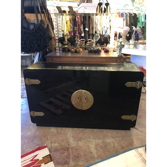 Black Lacquer Mastercraft Console Cabinet For Sale - Image 13 of 13