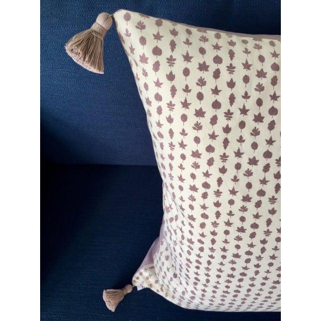"Boho Chic Custom Lee Jofa ""Little Leaf"" Heather Purple Pillow Cover For Sale - Image 3 of 5"