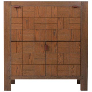 Brutalist Bar Cabinet in Stained Oak For Sale