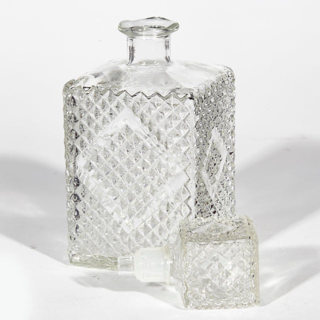1960s 1960s Textured Square Glass Decanters, Pr For Sale - Image 5 of 7