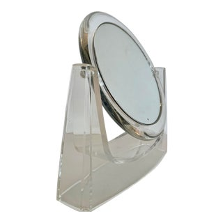 Double Face Lucite Vanity Mirror With Magnifying Side For Sale