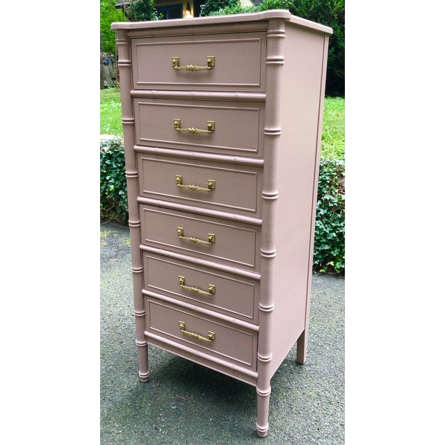 Classic Henry Link lingerie chest from the Bali Hai collection. Faux bamboo design with six drawers in total. Redone in...