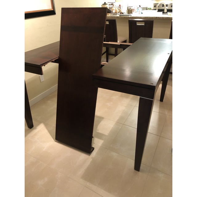 Early 21st Century Contemporary Espresso Finished Counter-Height Dining Set From Ethan Allen - Extension Table With 6 Upholstered Chairs - 8 Pieces For Sale - Image 5 of 12