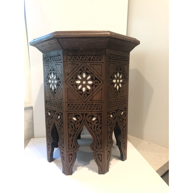 Middle Eastern - Moroccan-style mother of pearl inlaid side table from Syria. Table is 18.5 high by 16.5 wide at widest...