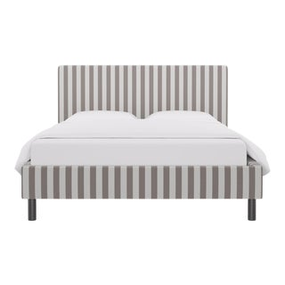 Queen Tailored Platform Bed in Taupe Cabana Stripe For Sale