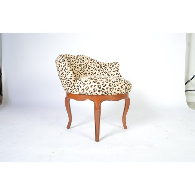 1950s Louis XV Style French Vanity Chair Having Cheetah Upholstery For Sale - Image 5 of 5