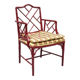 Vintage Mid Century Chinese Chippendale Faux Bamboo Red Lacquer Lattice Back Arm Chair For Sale
