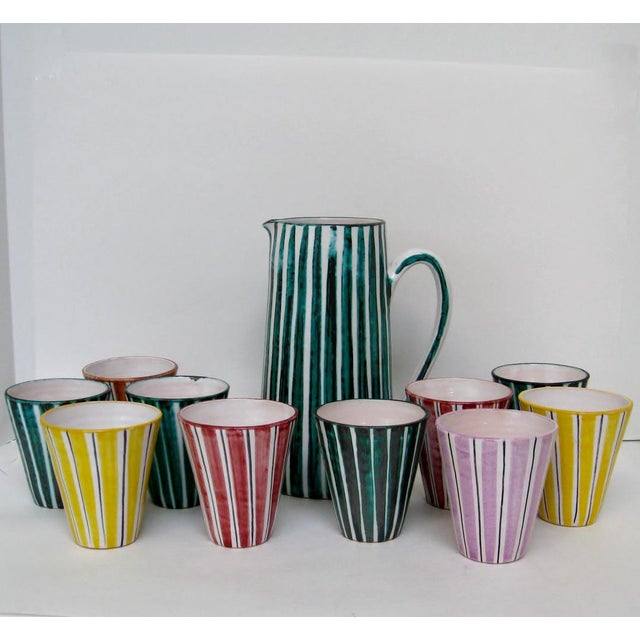 Italian Ceramic Pitcher With Cups - 11 Pieces - Image 2 of 9