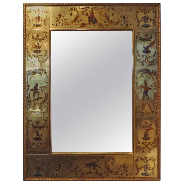 Gold Vintage French Maison Jansen Style Chinioserie Eglomise Mirror For Sale - Image 8 of 9
