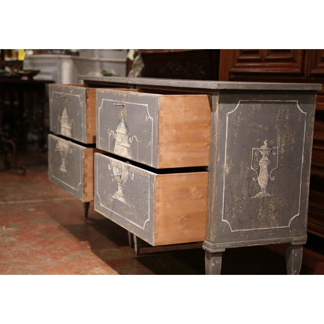 Wood Pair of Early 20th Century French Louis Philippe Painted Nightstands or Commodes For Sale - Image 7 of 11