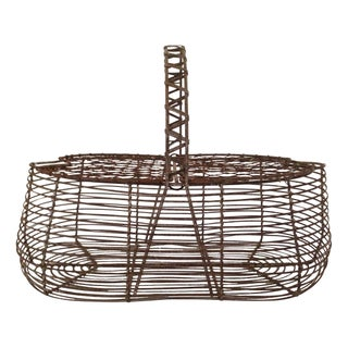 French Early 1900s Antique Wire Egg Basket