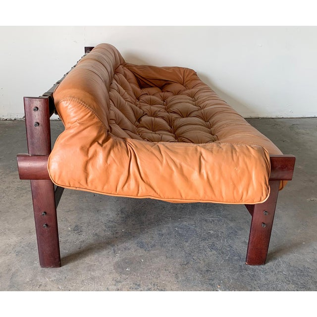 Percival Lafer Cognac Leather and Brazilian Rosewood Sofa Mp-41 Series For Sale - Image 9 of 11