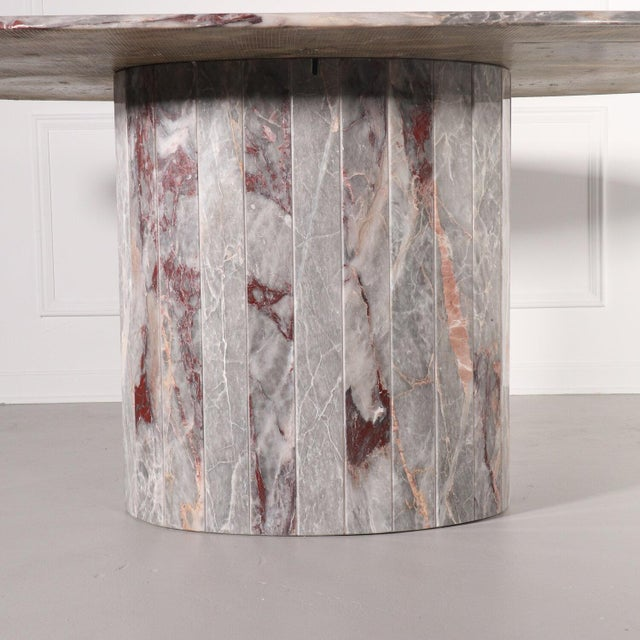 1970s Oval Salome Marble Pedestal Dining Table, Italy, 1970s For Sale - Image 5 of 13