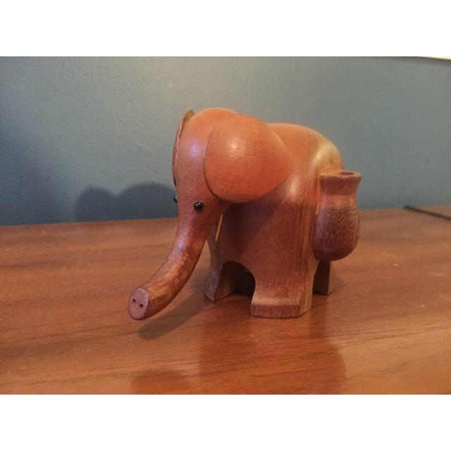 Vintage Hand Carved Teak Elephant Tooth Pick Holder - Image 4 of 7