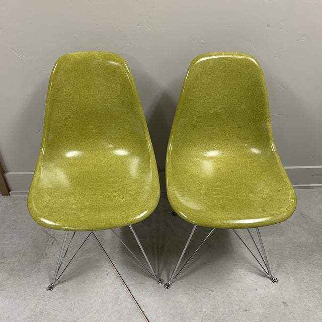 Modernica side chairs in Citron. In amazing condition!