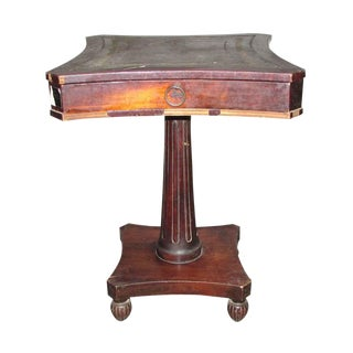 Neoclassic Wooden Wheeled Side Table For Sale