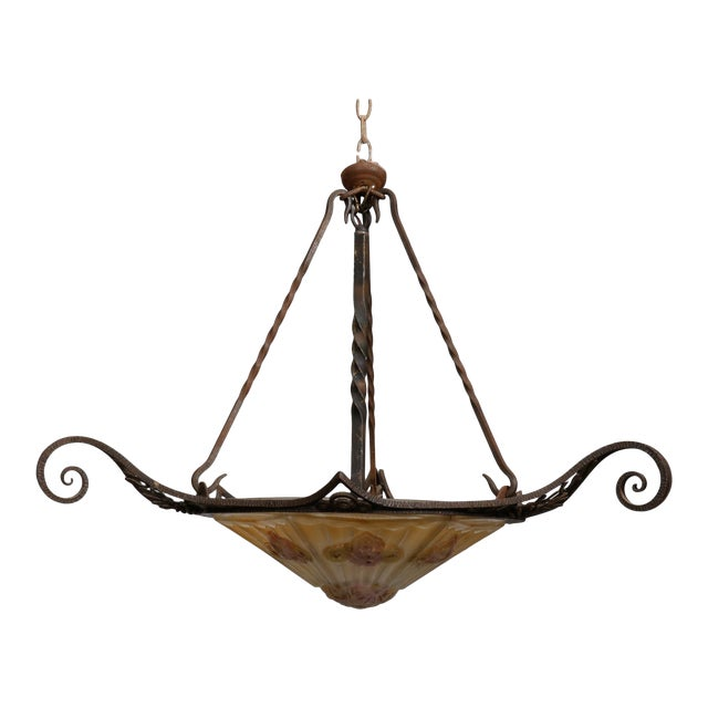 Signed J. Roberts Art Deco Fer Forge and Glass Fixture For Sale