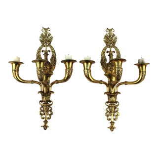 19th Century French Empire Swan Sconces - a Pair For Sale