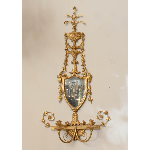 Neoclassical 19th C. Giltwood Mirrored Sconces - a Pair For Sale - Image 3 of 11
