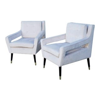 Hollywood Regency Ivory Velvet Club Chairs - A Pair