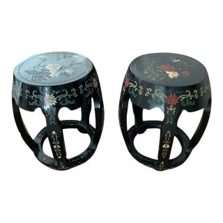Chinoiserie Carved Stool, Pair For Sale