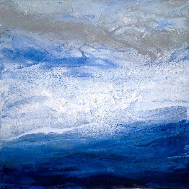 Canvas Teodora Guererra, 'Starry Seas 1' Painting, 2017 For Sale - Image 7 of 7