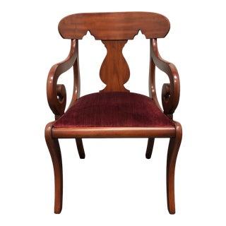 Henkel Harris Solid Wild Black Cherry Brewster Empire Style Armchair For Sale