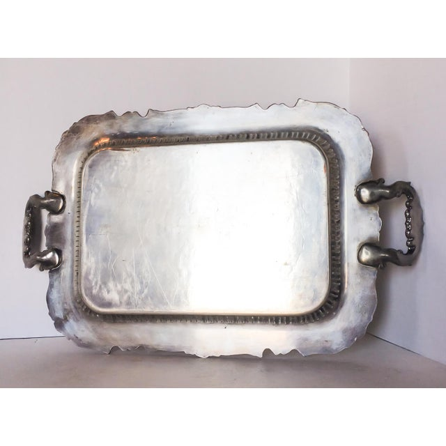 Antique Silverplate Filigree Tray With Handles For Sale In Richmond - Image 6 of 6