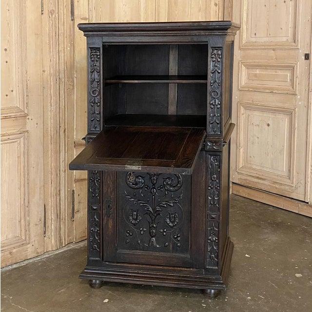 Coffee Antique Renaissance Oak Drop-Front Cabinet For Sale - Image 8 of 12