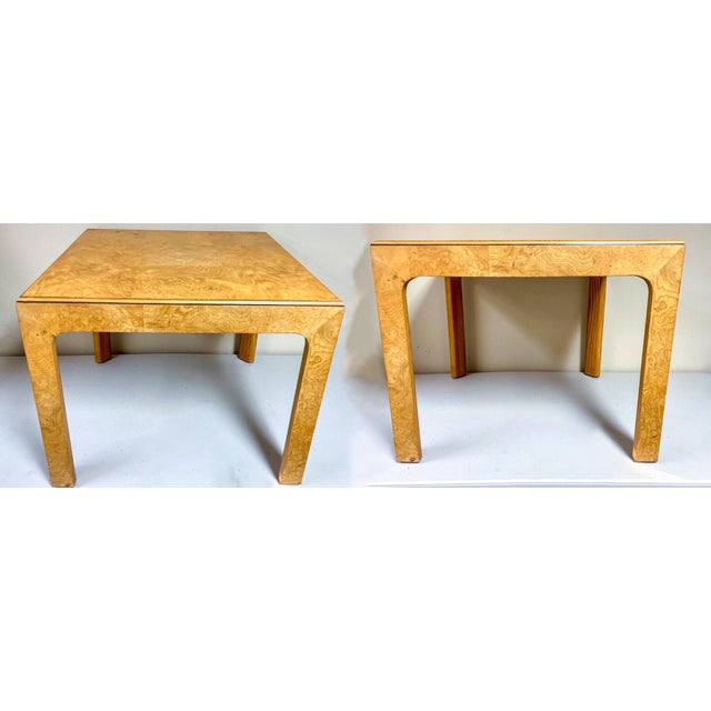 1970s Pair of Henredon Burlwood Side Tables For Sale - Image 5 of 6