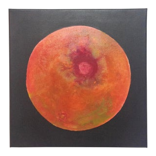 Abstract Orange and Red Moon Painting For Sale